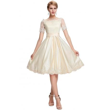 Sukienka zdobiona gipiurą, jasnobeżowa | sukienka na wesele, sukienka na komunie