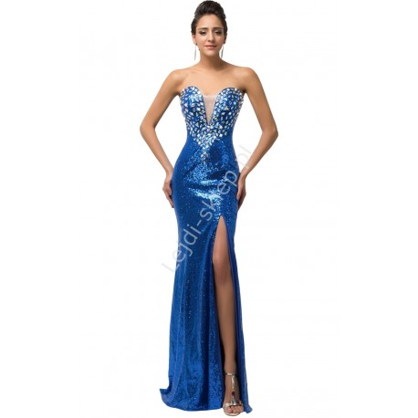 Cekinowa suknia kryształy CL6291