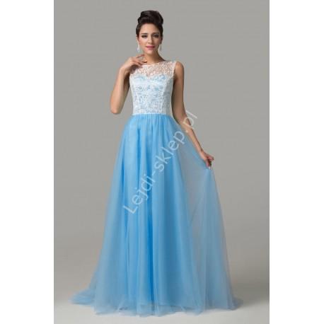 Tiulowa sukienka niebiesko biała