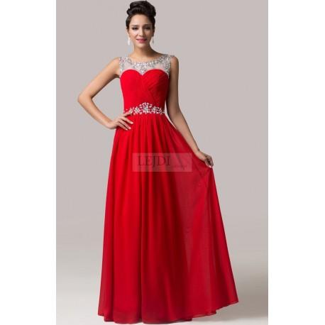 Długa czerwona suknia z cyrkoniami