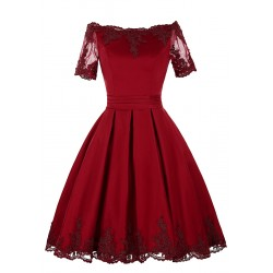 Sukienka z gipiurową koronka na wesele ciemne wino